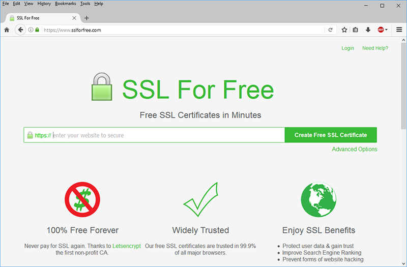 Screen capture of the SSL For Free website.