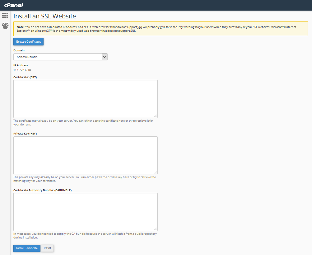 Screen capture of the cPanel interface for installing SSL certificates.