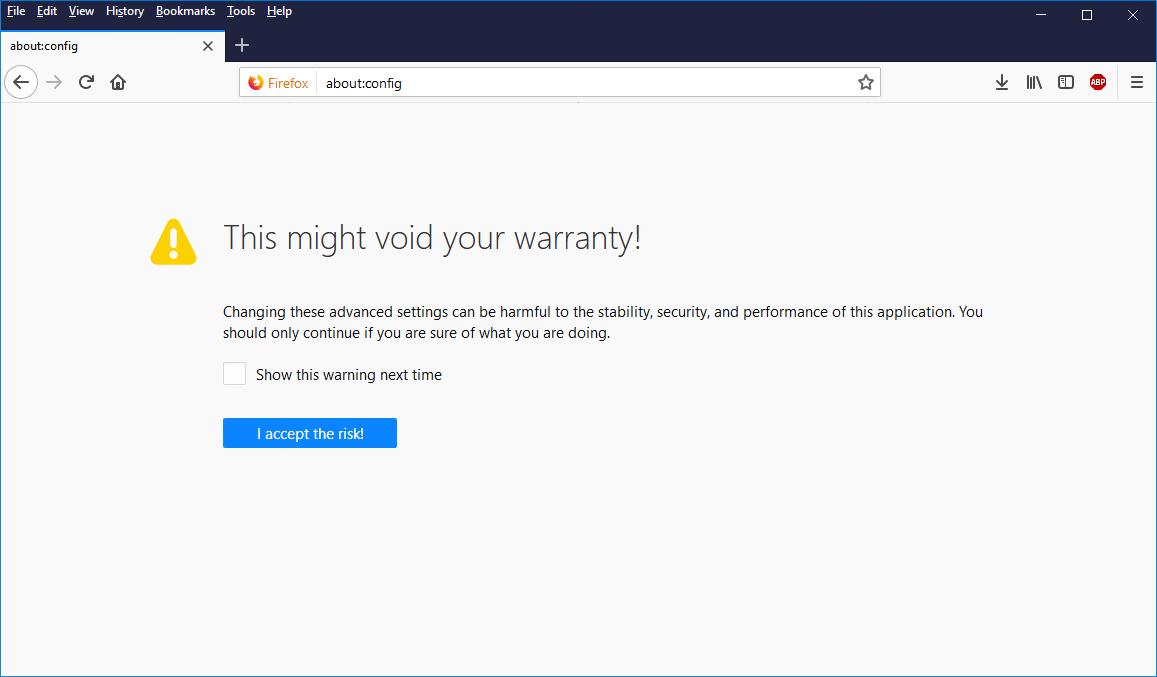 "Screen capture of the ""I accept the risk"" dialogue in Firefox."