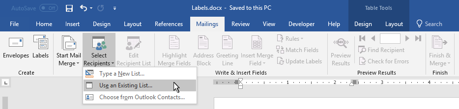 Screen capture of Microsoft Word mail merge menu command.