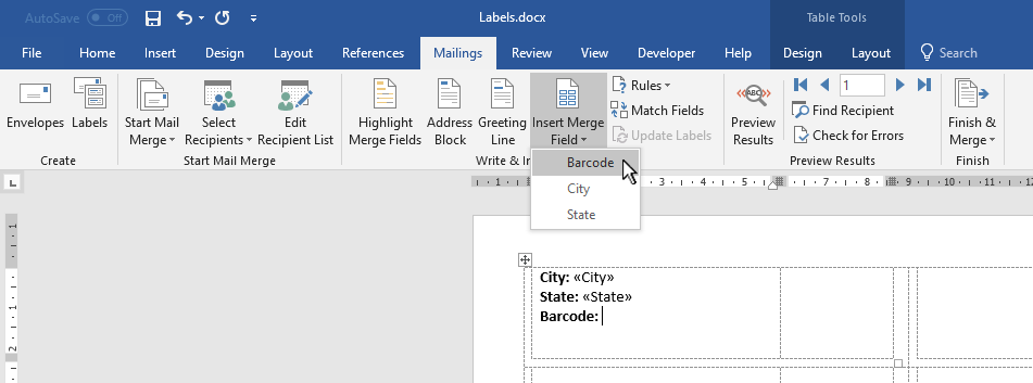 Screen capture of Microsoft Word mail merge tools.