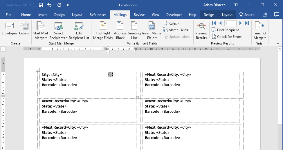 Screen capture of Microsoft Word showing empty field braces.