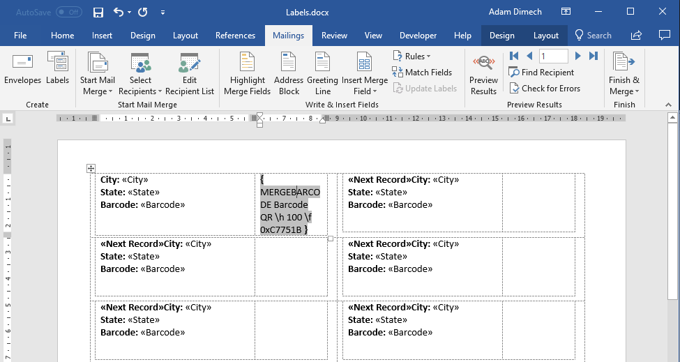 Screen capture of populated curly braces field in Microsoft Word.