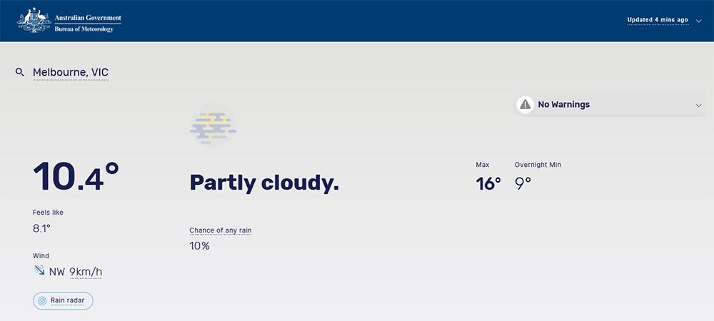 Screen capture of Bureau of Meteorology website.