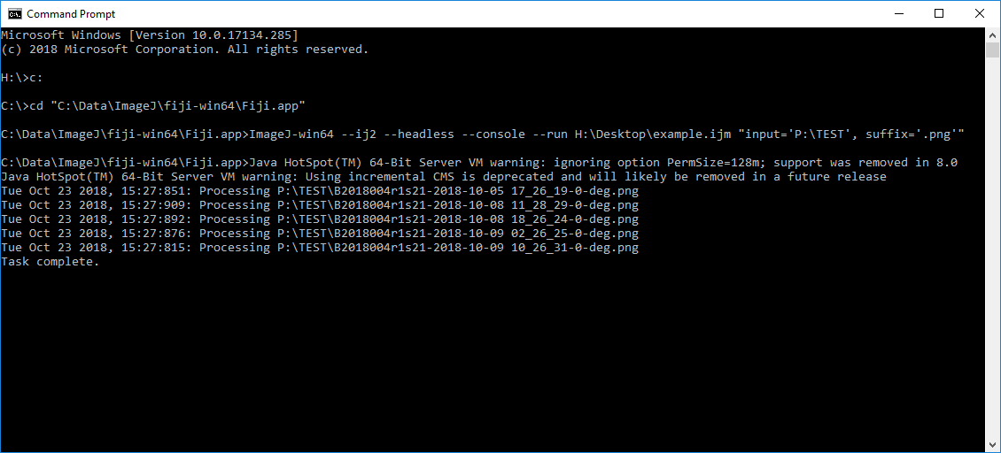 Screen capture of the command prompt showing code.