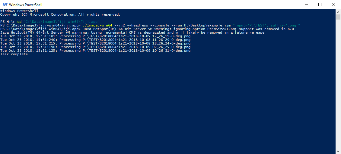 Screen capture of Windows Power Shell showing lines of code.