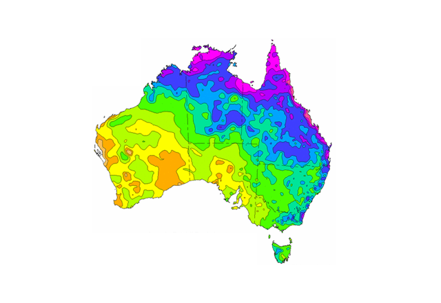 Coloured rainfall map of Australia with a white background.