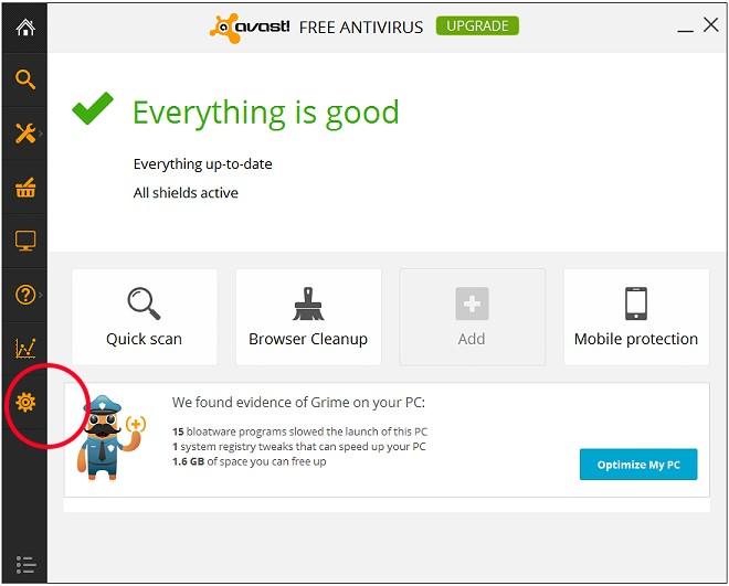Screen capture of Avast