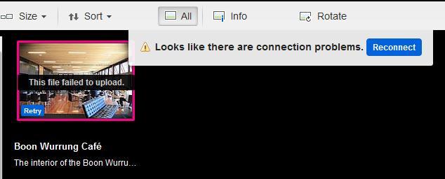 Flickr error message on upload screen.